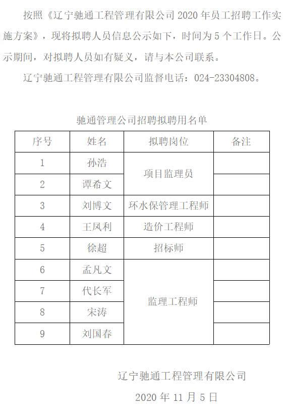 辽宁万博matext下载工程管理有限公司招聘拟聘人员公示2020年11月